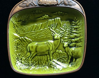 Vintage Mt. Ranier Souvenir Decorative Deer Plate Treasure Craft