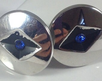 Swank silver Cufflinks with blue crystals