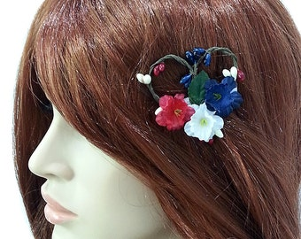 Patriotic Flowers Hair Clip- Red White Blue Roses Hair Clip- Independence Day Hair Clip- Fourth of July-