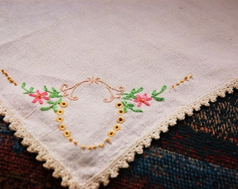 Vintage Embroidered Cloth Doily.