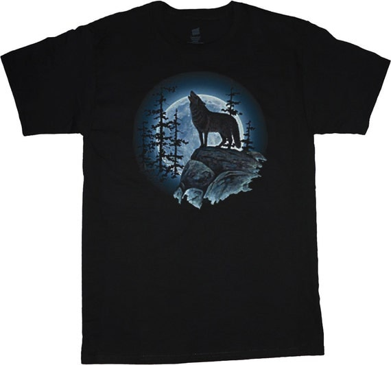 Big and tall t shirt lone wolf howling at the moon for Design your own t shirt big and tall
