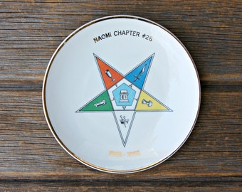 Vintage Order of the Eastern Star Masonic Commemorative Ceramic Plate