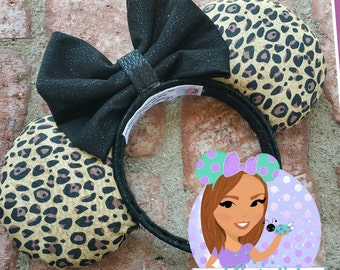Leopard/black leather bow minnie ears...Ready to ship
