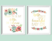 Baby Girl Gift-Hello Sweet Beautiful Baby Girl/Though She Be But Little Mint, Coral, Gold Wall Art Printables-Set of Two