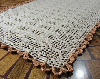 "Hand Crocheted Oblong Ecru and Copper Table Topper Doily 31"" X 16.5"""