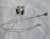 Turquoise and Silver Necklace and Earrings Set