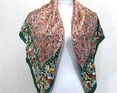 Large Silk Scarf Fall Floral Brown Green Top Hit Fashion Baar & Beards Hand Rolled Hems Japan