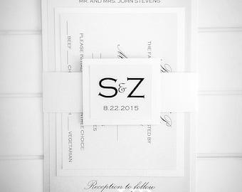 Wedding Invitations, White Wedding Invitation with RSVP and belt