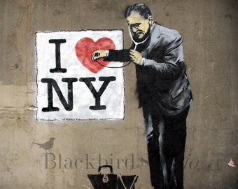 I Love NY Banksy Street Art , London  Fine Art Photograph 5 x 5 inches limited edition print