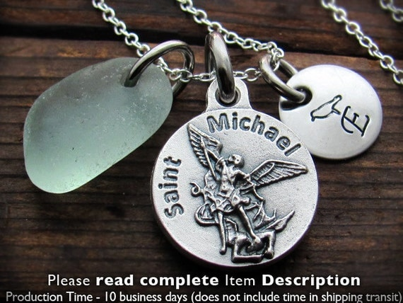 St Michael Custom, Personalized Necklace, US Navy,  Engraved. Soldier Gift. Policeman Gift. Saint Michael Necklace. St. Michael. Archangel.