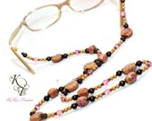 Eyeglasses Necklace, Glasses Chains, Eyeglass Accessories, Eyeglass Chains, Eyeglass Necklace, Pink and Brown, Beaded Glasses Chain