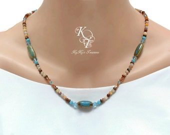 Teal Necklace, Blue Necklace, Jasper Necklace, Gemstone Necklace, Blue and Brown Necklace, Aquamarine Necklace, Mothers Day Gift, Necklace
