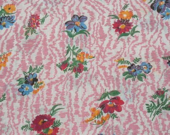 Vintage Pink Floral Sheer Cotton Gauze Fabric, Summer Chiffon Curtain Scarf Material Almost 3 1/2 yards