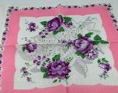 Vintage Hankie Handkerchief, Dead Stock, White with Purple and Pink, Great  for  Framing, Sewing, Crafts, Collage G4