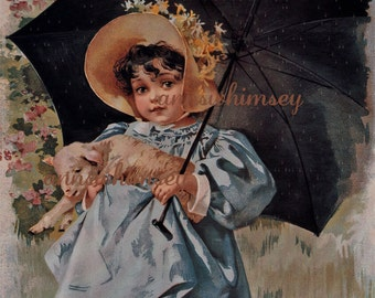 Dog And Baby Art Print Baby In Bath Vintage Antique