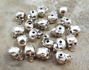 20 Silver Plated Pewter 5.5mm Skull Beads with a Horizontal Hole - 3567