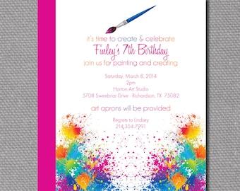 "Custom Printable 5""x7"" Paint / Artist Birthday Party Invitation 2"