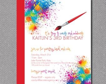 "Custom Printable 5""x7"" Paint / Artist Birthday Party Invitation"