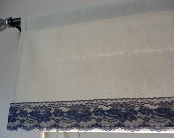 Window valance grain sack and lace window valance window decor window curtain rustic window valance