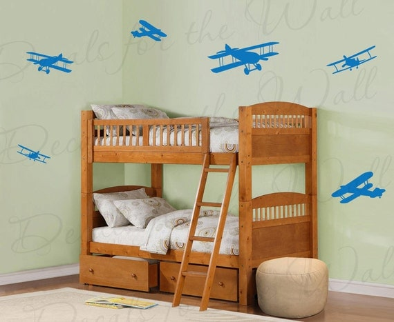Airplane wall mural decals vinyl graphic pilot aviation kids for Aeroplane wall mural