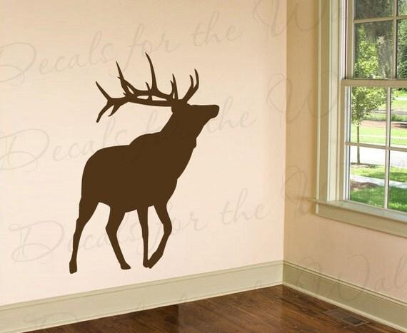 Elk silhouette wall decal large vinyl buck deer realistic for Deer mural decal
