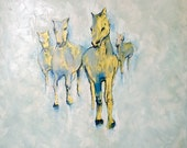 "Abstract Horse painting, Abstract gold painting, Original Oil Painting 32"" wall art, Acrylic Painting, Impasto Texture"