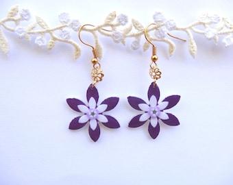 Indigo purple earrings, Purple dangle earrings, Indigo drop earrings, purple flower earrings, Indigo earrings, Purple drop earrings flower