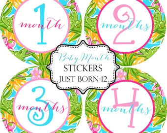 Girls Tropical Preppy Gators, Monthly Baby Stickers Make Great Baby Shower Gifts..Bonus Just Born Sticker Included