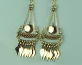 Festival Earrings, Coachilla Jewelry, Bohemian Earrings, Chainmail Earrings, Belly Dancer Earrings, Exotic Earrings, Chilean Brass Jewelry