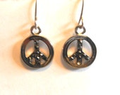 Peace Sign Dangle Earrings, Silver Peace Signs, Black Rhinestones, Petite Earrings, Peace Sign Jewelry