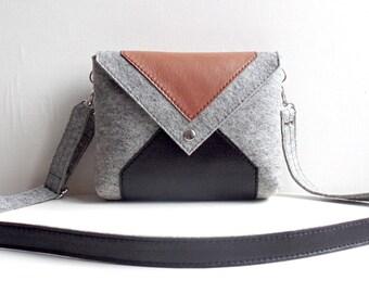 Gray Brown Black Wool Felt Genuine Leather Messenger Crossbody Bag