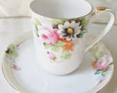 Japanese Hand Painted Demitasse Cup and Saucer, Floral Motif, Gold Trim.  Mothers Day Gift, Wedding Gift, Housewarming Gift, Valentine Gift