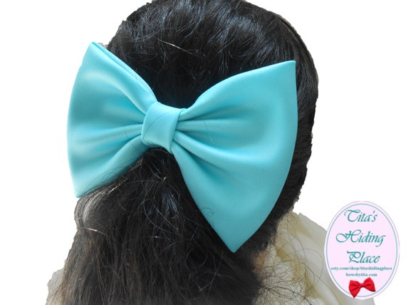 Blue Radiance Large Satin Fabric Hair Bow/ Blue Girls Hair Bow, Fabric Hair Bow, Extra Large/ Wedding Dress Attachable Bow
