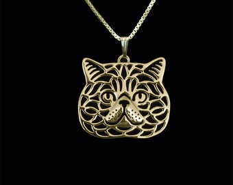 Exotic Shorthair cat - gold pendant and necklace.