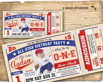 Baseball invitation - baseball birthday invite- baseball ticket invitation - boys invitation - DIY Printable invitation