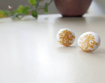 Royal Fabric Button Earrings