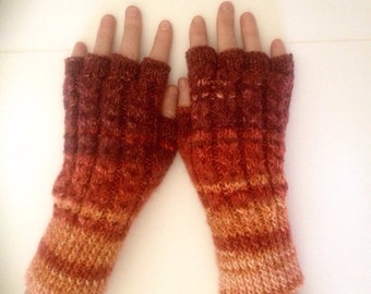 Womens texting, cabled mittens,hand knit/crochet multi rust orange wine fngerless gloves,arm warmers,hand warmers,designer unique hippie