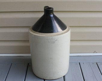 Antique 5 Gallon Jug Robinson Ransbottom Blue Crown Two Tone Pottery Handle Whiskey Vintage Primitive Decor Americana