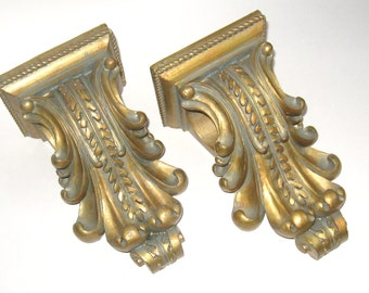 HOLLYWOOD REGENCY Pair Antique ANCANTHUS Leaf Neoclassical Scroll Drape Scarf Curtain Rod Pole Holder Brackets Decorator Quality
