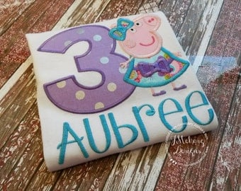 Peppa Pig Birthday Custom Tee Shirt - Customizable -  Infant to Youth 230
