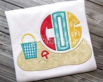 Beach Scene Monogram - summer monogram - Custom Tee