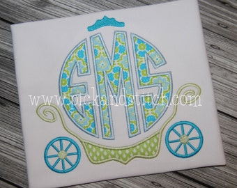 Princess Carriage Monogram - Princess Birthday - Custom Tee