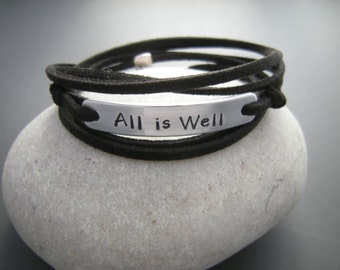 All is well Inspirational bracelet, Positive Women Wrap bracelet, Personalize it with your quote bracelet, motivational bracelet