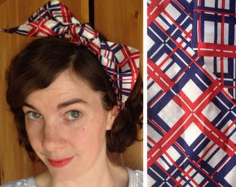 Vintage scarf   Red, white and blue plaid head scarf