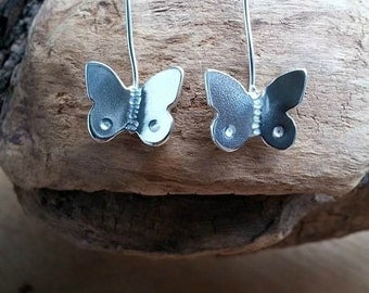Butterfly Earrings, Sterling Butterfly, Gift for Her, Butterfly Jewelry, Drop Earrings, Dangle, Silver Butterfly