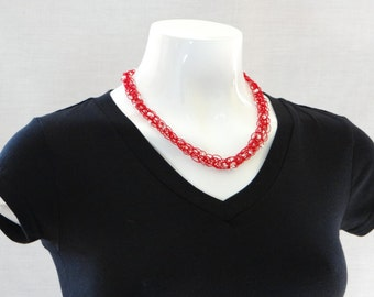 Red Necklace Red Knitted Beaded Necklace Red And White Necklace Red Skinny Rope Necklace For Teen Necklace For Mom Necklace For Teacher