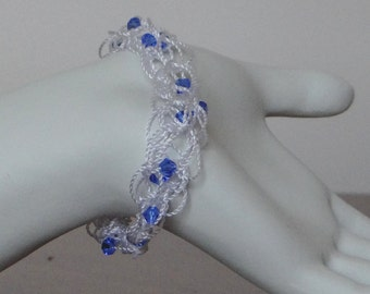 Blue Sapphire Crystal Bracelet, September Birthstone Bracelet, Blue Sapphire Slip On Birthstone Bracelet, Sapphire Beaded Wedding Bracelet
