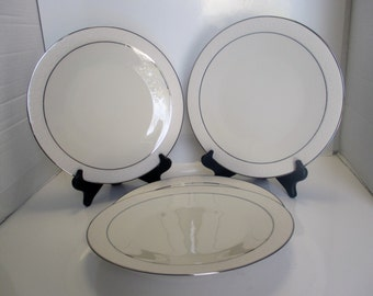 Franciscan Masterpiece China - Moon Glow Pattern - USA Dinner Plates with Platinum Trim - Set of 4 (2 sets available)