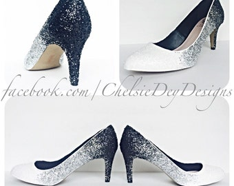 White Silver Black Midnight Ombre Fade Glitter Pump Low Heels Size 8