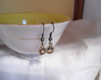 Brass and Yellow Earrings